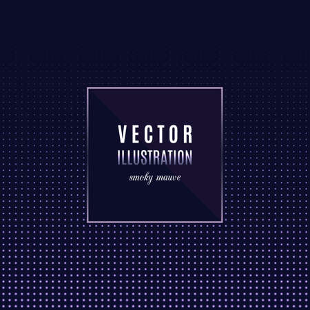 smoky: Geometric frame with light effects, Halftone square light background, place for text.  Vector party flyer, design template, card, banner or poster. Dark smoky purple, mauve color palette Illustration