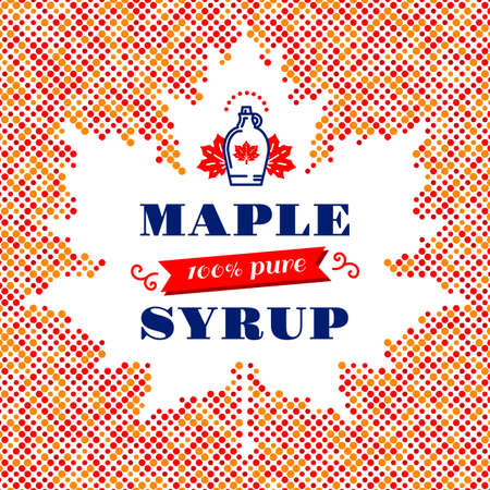 maple syrup: Maple syrup poster, square card, label. Canadian food, American traditional products, bottle icon. Vector modern concept of a maple leaf silhouette of colorful dots with space for text