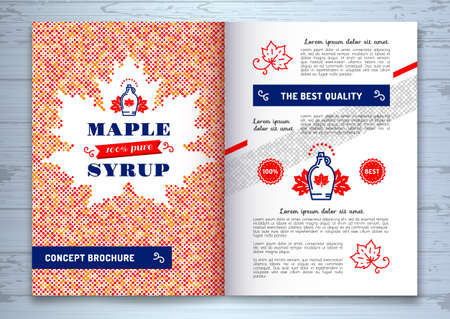 Maple syrup brochure, corporate identity, template design A4. Canadian food, American traditional products, bottle icon. Maple leaf silhouette of colorful dots, vector illustration