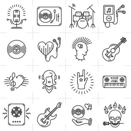 heavy set: Thin lines music icons set. Rock music band, punk rocker, Heavy rock icon, Skull icon, Notes, instruments, guitar, dj. Vector music illustration