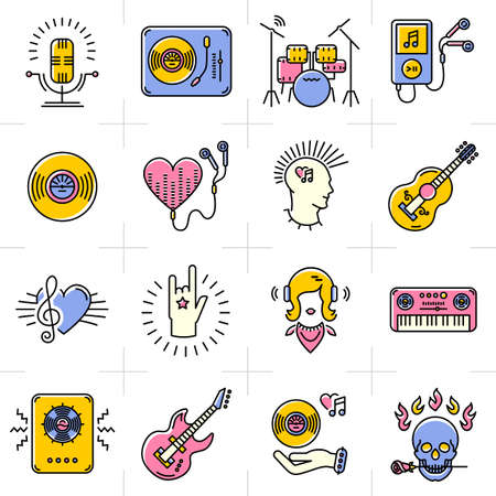 piano roll: Music icons set Rock punk jazz symbols in the trendy line art style. Skull icon, notes, instruments, guitar, dj. Vector music illustration