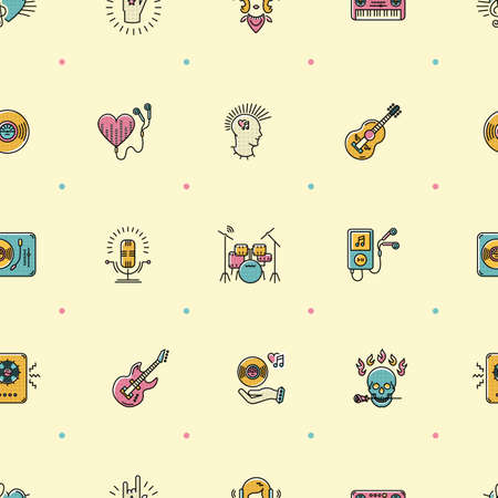 piano roll: Music seamless pattern, thin lines rock icons. Punk rocker and skull icon, notes, instruments, guitar, dj. Vector music illustration