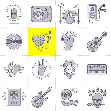 piano roll: Thin lines music icons set. Rock music band, punk rocker, skull icon, notes, instruments, guitar, dj. Vector music illustration Illustration