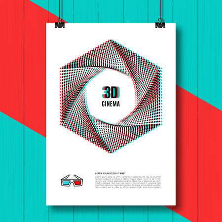 chromatic: 3D cinema creative concept, 3d movie, 3D glasses icon. 3D symbol with chromatic aberration, creative concept poster, covers, brochure, flyers. Vector illustration