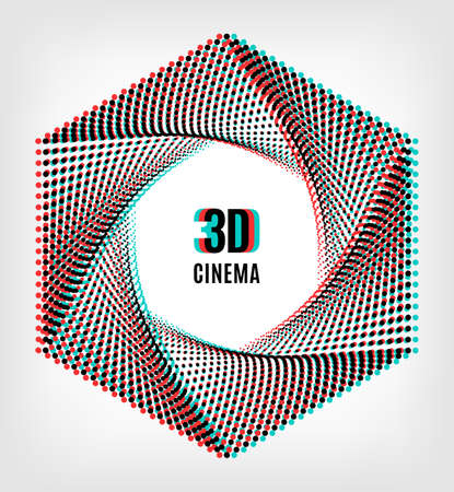 chromatic: 3D cinema creative concept, 3d movie icon. 3D symbol with chromatic aberration, the camera aperture of the points. Vector illustration Illustration