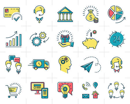 Vector infographic set business icons, marketing, shopping, e-commerce and media isolated line art symbols
