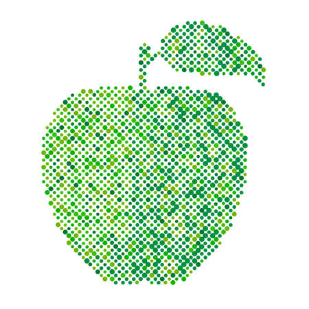 fruitage: Green apple isolated, Ecology and bio food concept. Abstract apple dots design symbol, Green apple icon Illustration