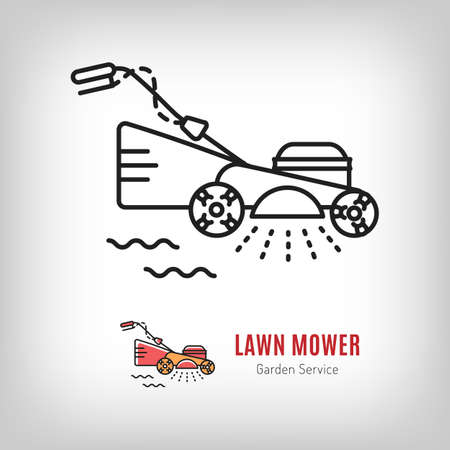 mowing the grass: Vector lawn mower icon in a line art style. Mowing grass, Gardening tools emblem. Illustration isolated  lawn mower on a white background