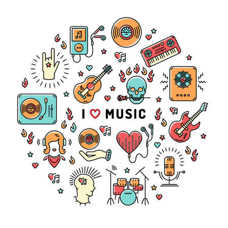 moderm: I love music - inspiring quote. Music infographics, trendy icons line art style. Colorful isolated illustration for musical poster, cards, banners, flyers, brochures. Music studio moderm vector