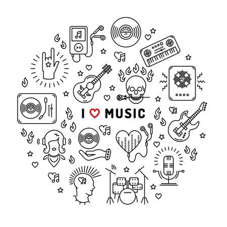moderm: I love music - inspiring quote, line art icons, circle infographic. Isolated illustration for musical poster, cards, banners, flyers, brochures. Music studio moderm vector