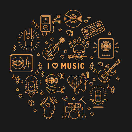moderm: I love music - inspiring quote, line art icons, circle infographic on a dark background. Isolated illustration for musical poster, cards, banners, flyers, brochures. Music studio moderm vector Illustration