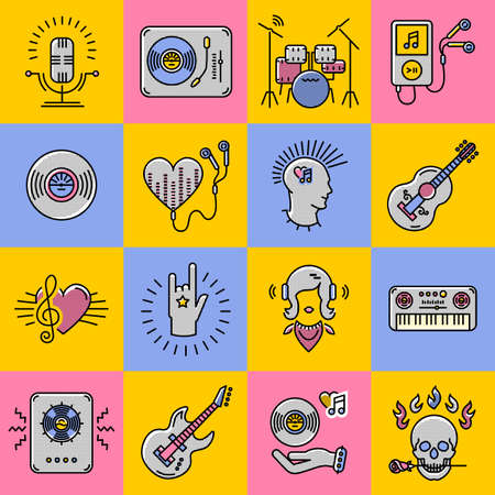 moderm: Set collage of music icons. Modern colorful musical icons in the style of art trending thin line. Rock, jazz, punk, music studio moderm vector Illustration