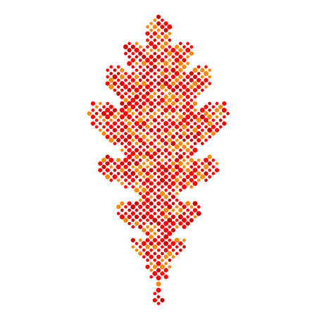 Colorful Oak leaf isolated dot abstract design symbol, autumn leaf icon, vector illustration