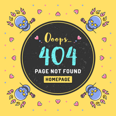 error message: Page not found Error 404, web template. Vector illustration of page with an error message, colorful skulls, hearts and roses in a thin line art style