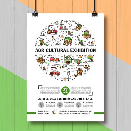 cultivator: Agricultural Exhibition design poster or card template, mock-up flyer, banner. Vector agriculture and gardening infographics concept, Farming line art icons, Garden tiller and farm machines