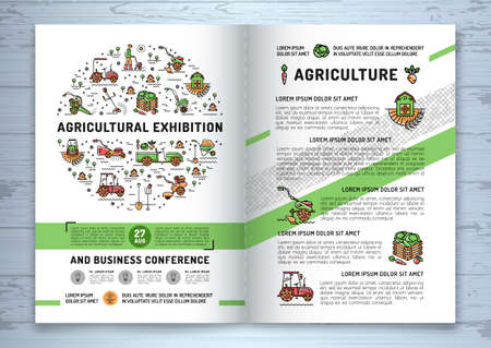 cultivator: Agricultural Exhibition business brochure design template, flyer or card. Vector agriculture and gardening circle colorful infographics concept, Farming line art icons, Garden tiller and farm machines