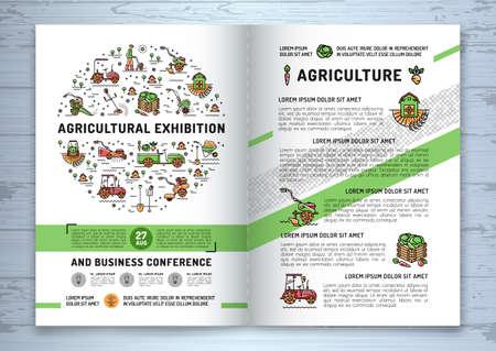 Szablon projektu broszurowego dla firm rolniczych, ulotka lub karta. Wektor rolnictwa i ogrodnictwo okręgu kolorowe infografiki koncepcji, rolnictwo ikony linii sztuki, gajarka ogrodowa i maszyny rolnicze Ilustracje wektorowe