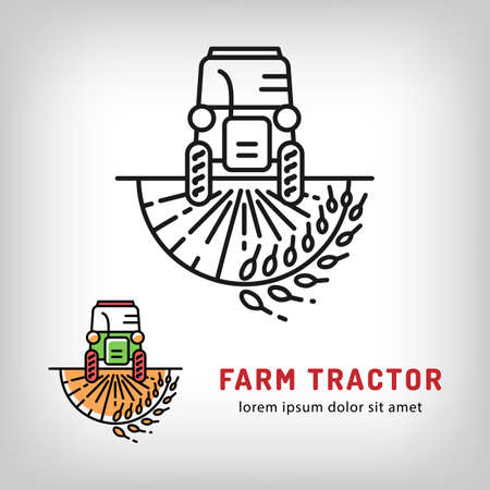 cultivator: Farm tractor icon in a thin line art style, Isolated vector of the tractor on a wheat field. Farmers market Illustration