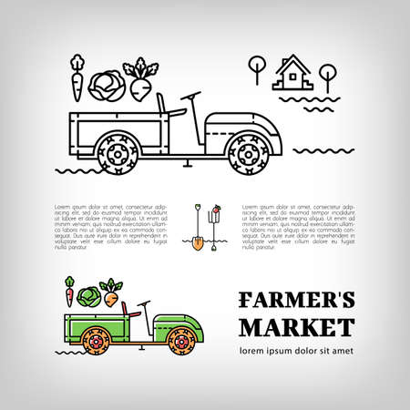 tractor trailer: Farmers market, Farm tractor icon in a thin line art style, Isolated vector tractor. Trailer tractor and vegetables, Farm machine or Walk-Behind Tractor