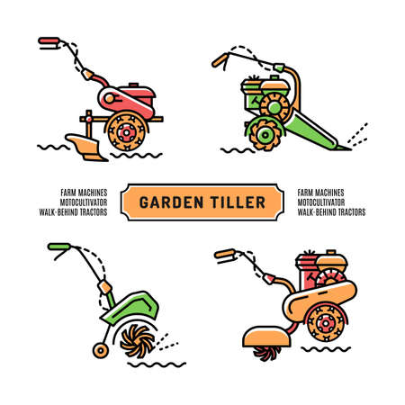 cultivator: Set Garden Tiller on a white background, isolated icons in the thin line art style. Agriculture machines, motocultivator, walk-behind tractor, cultivator. Vector illustration