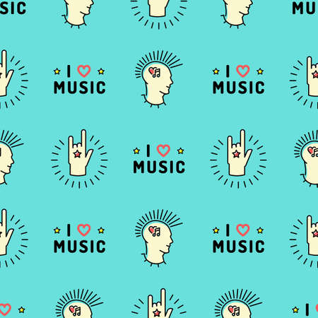 mohawk: Music seamless pattern thin line art minimal design, Text I love music, punk with a mohawk, Hand Rock N Roll Sign, Hipster style vector illustration. Stylish turquoise background Illustration