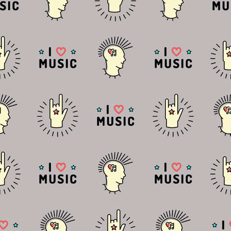 mohawk: Music seamless pattern thin line art minimal design, Text I love music, punk with a mohawk, Hand Rock N Roll Sign, Hipster style vector illustration. Trendy gray grunge style Illustration
