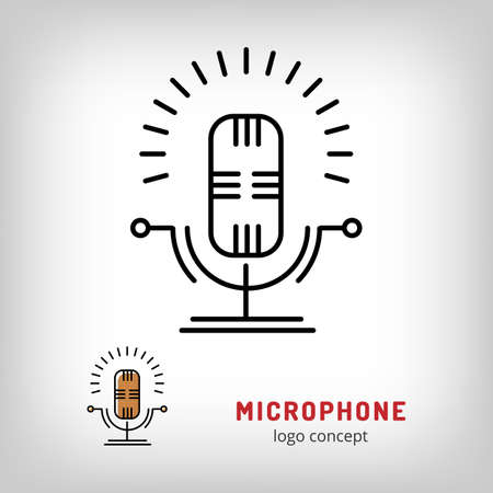 music stand: Microphone isolated vector illustration. Modern art thin line of the speaker microphone stand icon, music flat design Illustration