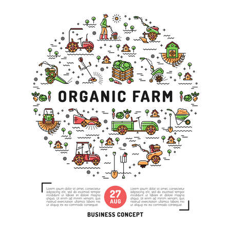 Vector agriculture and organic farm fresh design card template, flyer or web banner. Vector agriculture and gardening circle colorful infographics concept, Farming line art icons Illustration