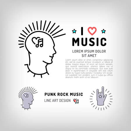 iroquois: Punk rock music icons, rock hand symbol, the concept symbols of love for music. Vector in modern art thin line style, card template, poster or banner for a rock music studio and shop Illustration