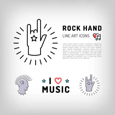 punk rock: Rock hand sign, Punk rock music icons, the concept symbols of love for music. Vector in modern art thin line style Illustration