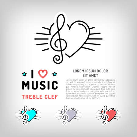 Treble clef isolated icon, Musical note and heart, the concept symbols of love for music. Vector in modern art thin line style, card template, poster or banner