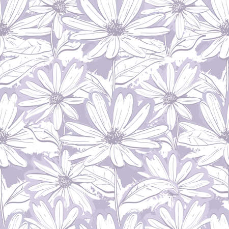 Monochrome lilac gray floral wallpaper, Seamless pattern of chamomiles, Hand-drawn daisies. Pastel delicate background, Vector illustration