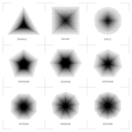 heptagon: Vector halftone geometric shapes, Dot pattern, abstract background. Set design elements: square, circle, triangle, pentagon, hexagon, heptagon, octagon, nonagon, decagon. Dotwork Illustration
