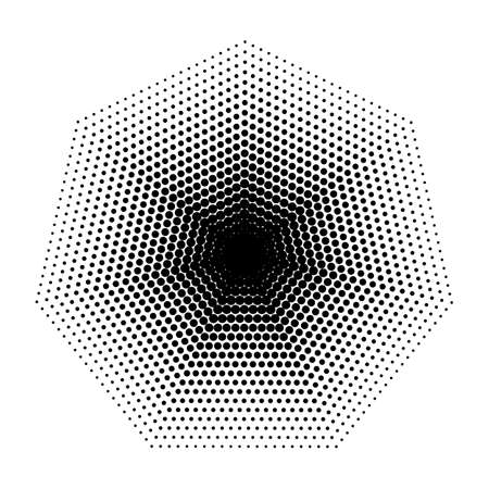 heptagon: Vector Heptagon halftone geometric shapes, Dot design abstract background.