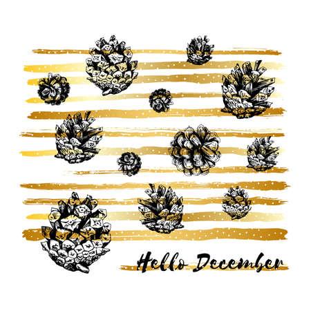 Hello December, Merry Christmas Card, Hand drawn design elements, Handwritten modern brush lettering. Illustration