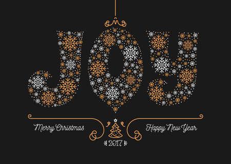 chinese holly: Merry Christmas and Happy New Year 2017 greeting card, Joy lettering of snowflakes. Style thin mono line, Art Deco, dark background golden elements. Xmas retro flyer, postcard, Vector minimal design