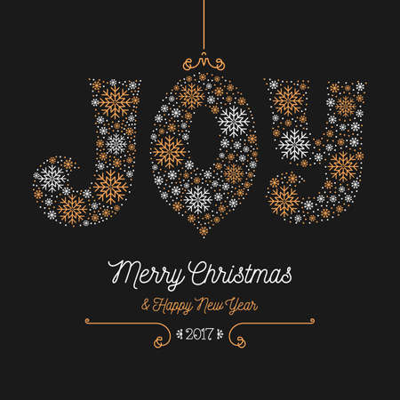 chinese holly: Joy lettering of snowflakes, Merry Christmas and Happy New Year 2017 greeting card. Style thin mono line, Art Deco, dark background golden elements. Xmas retro flyer, postcard, Vector minimal design
