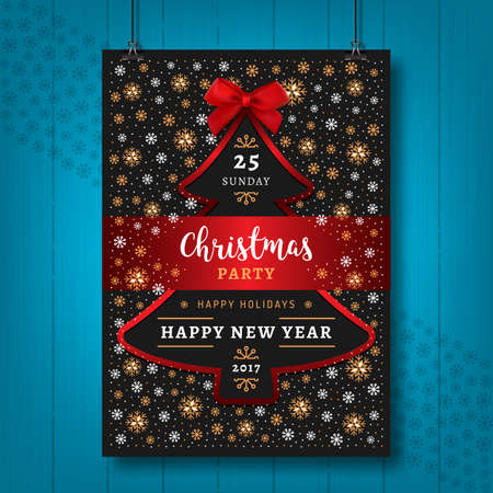 new year party: Poster Party Christmas and Happy New Year card or flyer.