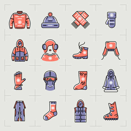 Trendy winter clothes isolated line icons set. Outline sportswear icons, sport, snowboarding. Retro color palette, thin line art fashion winter clothing symbols. Vector illustration Illusztráció