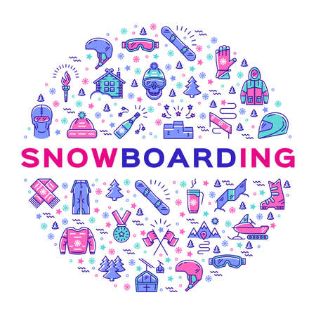 Vector snowboarding icon, Snowboard infographics. Isolated symbols of winter sports clothing, sportswear. Minimal thin line art style. Colorful sport corporate identity, branding design elements Illustration