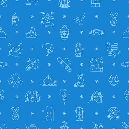 skating on thin ice: Winter sport seamless pattern, thin line icon. Winter recreation and fun, ski, snowboard, ice skating, winter clothes and sportswear, winter landscape outline symbols. Trendy vector mono background Illustration