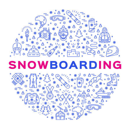 Snowboarding corporate identity, Sport branding thin line art design