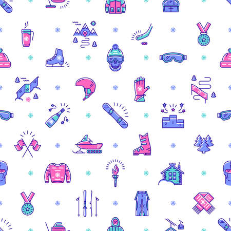skating on thin ice: Winter sport seamless pattern thin line art style. Winter recreation and fun, ski, snowboard, ice skating, winter clothes and sportswear, winter landscape outline symbols. Trendy vector background
