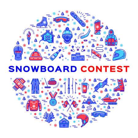 Konkurs snowboardu wektor, konkurs snowboardu. Extreme Sporty zimowe, akcesoria i odzież snowboardzista. Ikony konspektu sportowego i infografiki cienkiej linii. Snowboarding tożsamość firmy