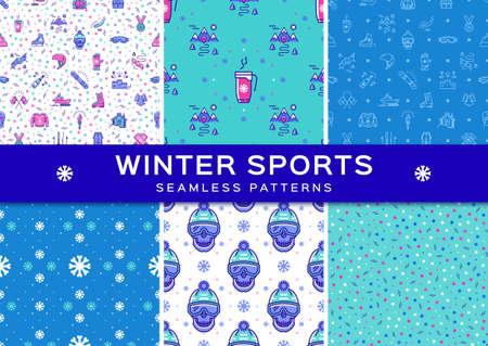 skating on thin ice: Set winter sport seamless patterns. Winter recreation and fun, ski, snowboard, snowboarding, ice skating, clothes, winter landscape outline symbols. Minimal design, Vector thin line art icons