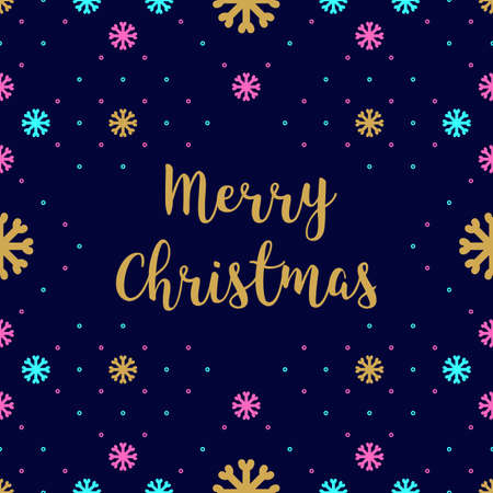 branded: Trendy hipster Merry Christmas Card with calligraphy. Colorful pattern of snowflakes on a blue dark background. Minimal design branded business style, Creative greeting card. Vector illustration