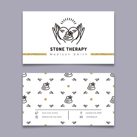 Vector stone therapy business card template stone massage beauty vector vector stone therapy business card template stone massage beauty spa relax and natural medicine thin line symbols business card spa studio wajeb Image collections