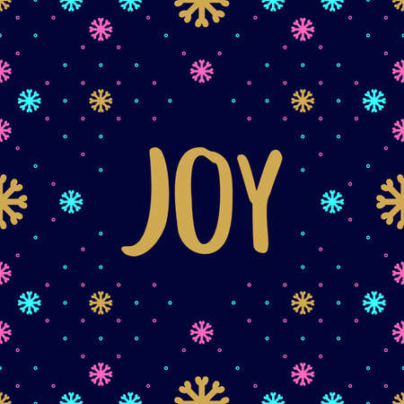 branded: Trendy hipster Christmas Card with Joy calligraphy. Colorful holiday pattern of snowflakes. Minimal design branded business style, Creative greeting card. Vector illustration