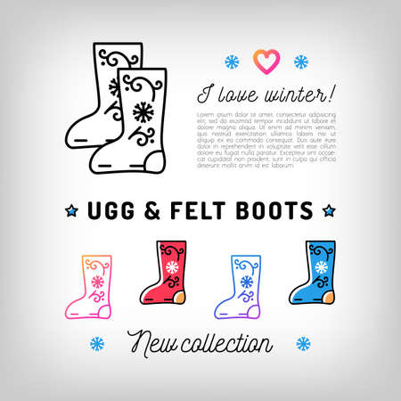 shoe store: Ugg and Felt boots thin line icons, Valenki, Winter boots. Winter shoes, footwear. Trendy banner, flyer for a shoe store. Vector illustration, isolated symbols Illustration