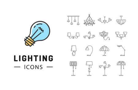 fixture: Lamp icon set, Lighting store flat design, Brand identity graphics Illustration